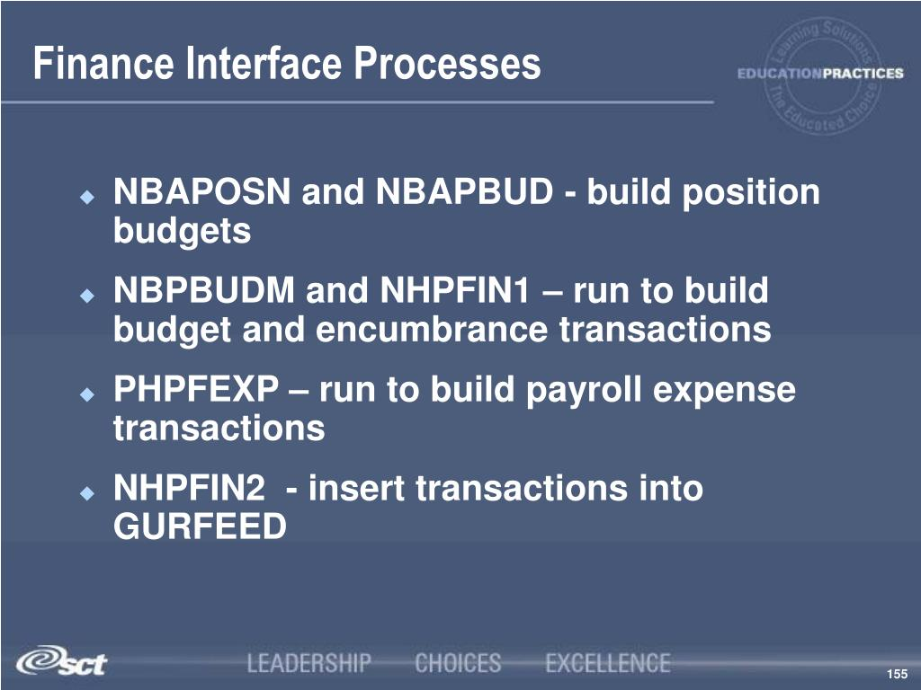 Finance Interface Processes