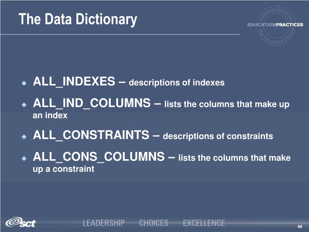 The Data Dictionary