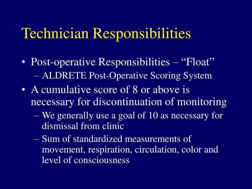 Technician Responsibilities