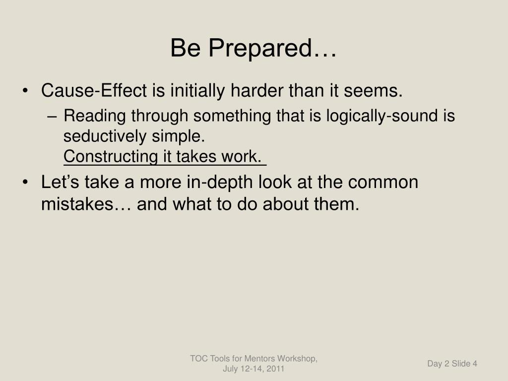 Be Prepared…