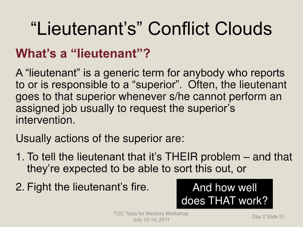 """""""Lieutenant's"""" Conflict Clouds"""