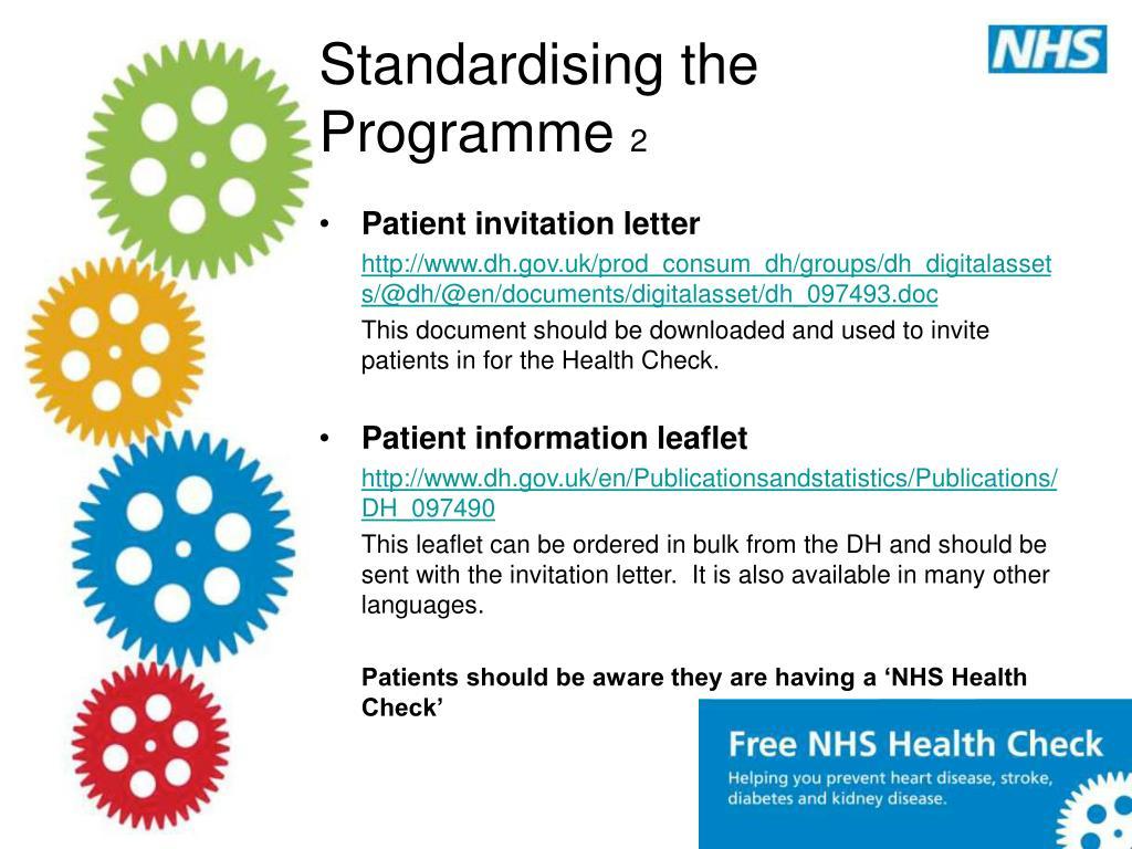 Standardising the Programme