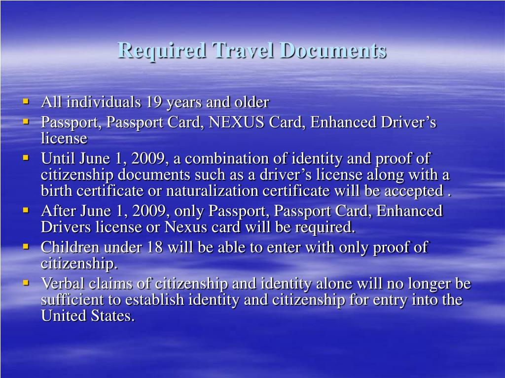 Required Travel Documents