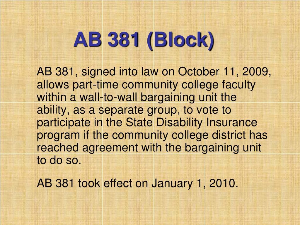 AB 381 (Block)