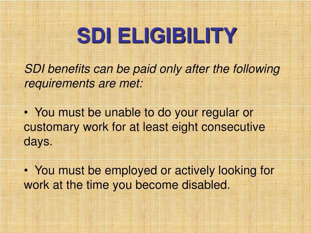 SDI ELIGIBILITY