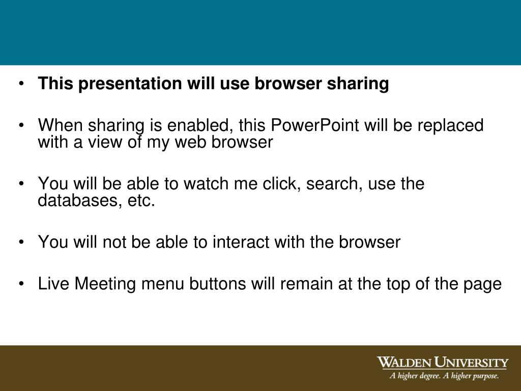 This presentation will use browser sharing