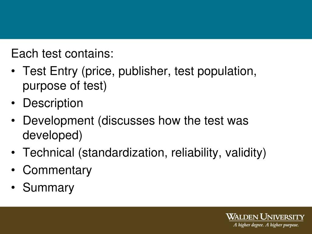 Each test contains: