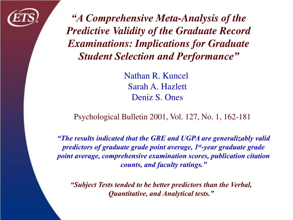"""""""A Comprehensive Meta-Analysis of the Predictive Validity of the Graduate Record Examinations: Implications for Graduate Student Selection and Performance"""""""