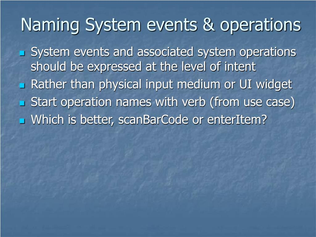 Naming System events & operations