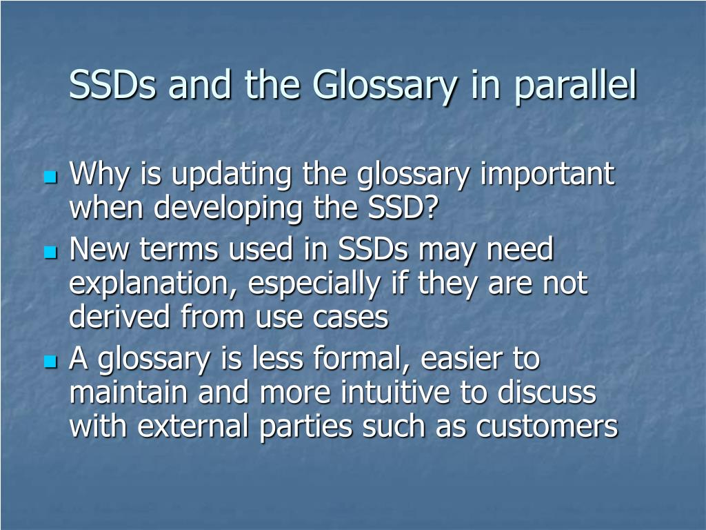 SSDs and the Glossary