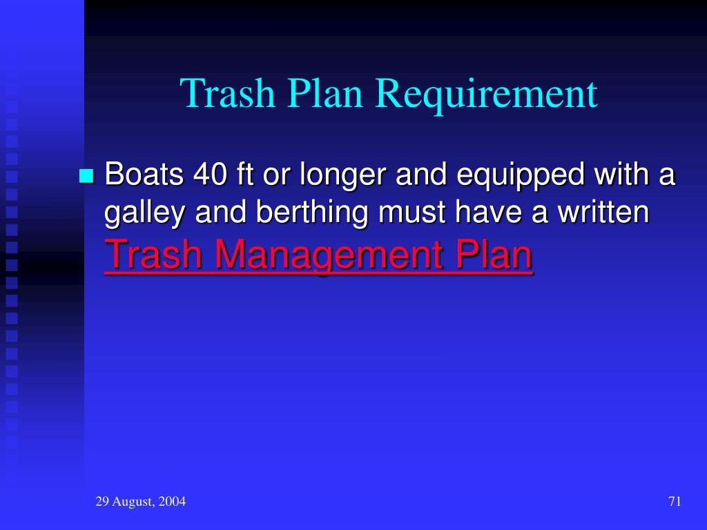 Trash Plan Requirement