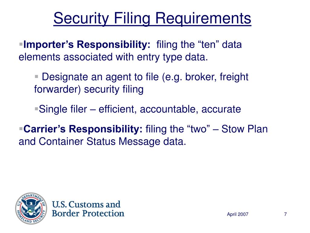 Security Filing Requirements