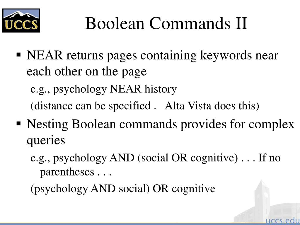 Boolean Commands II