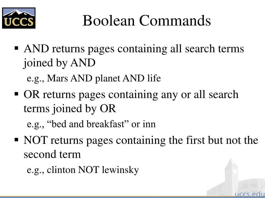 Boolean Commands