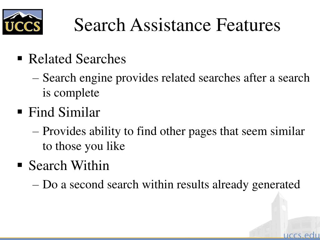Search Assistance Features