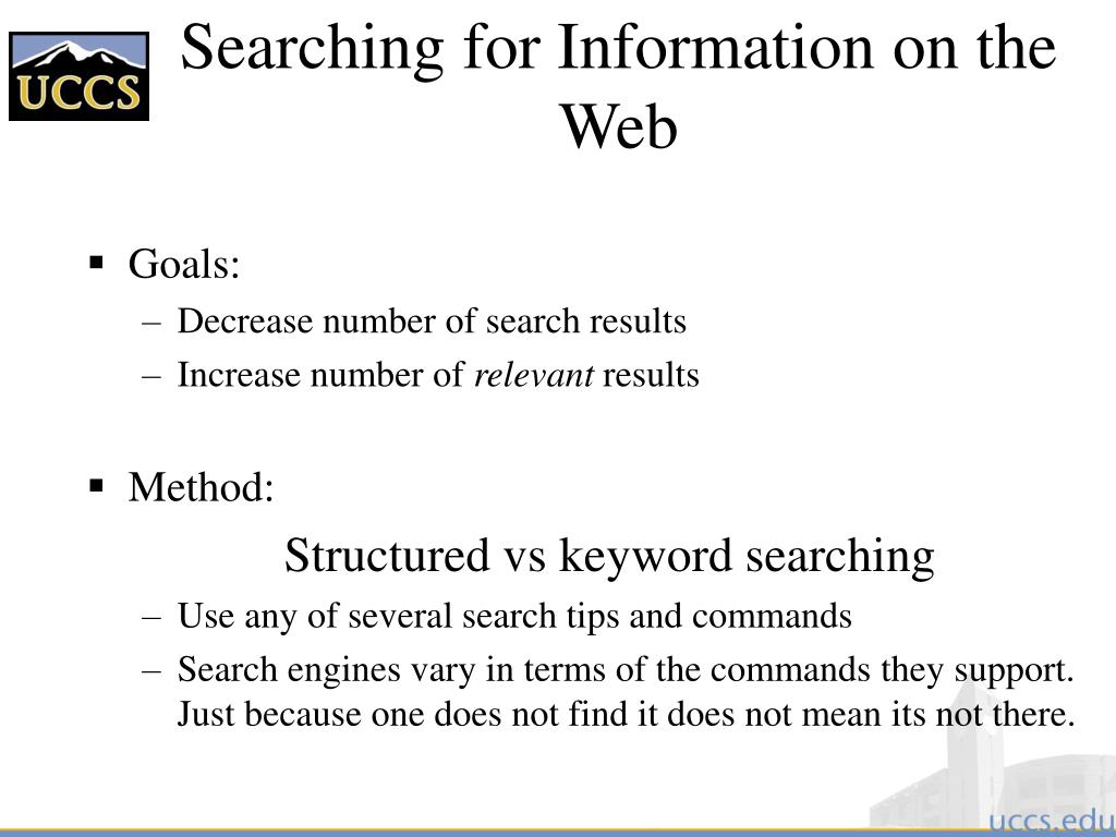 Searching for Information on the Web