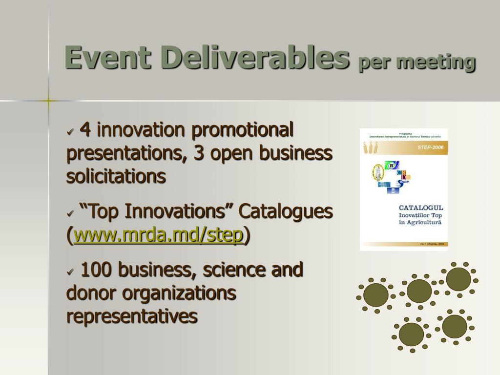 Event Deliverables