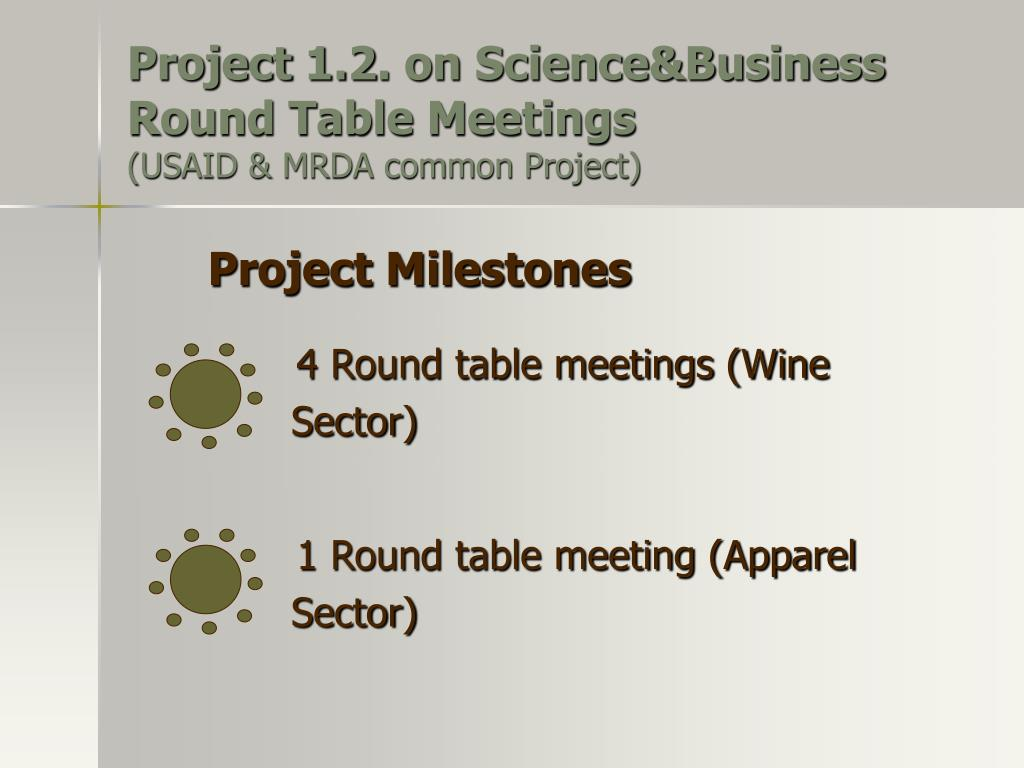 Project 1.2. on Science&Business Round Table Meetings