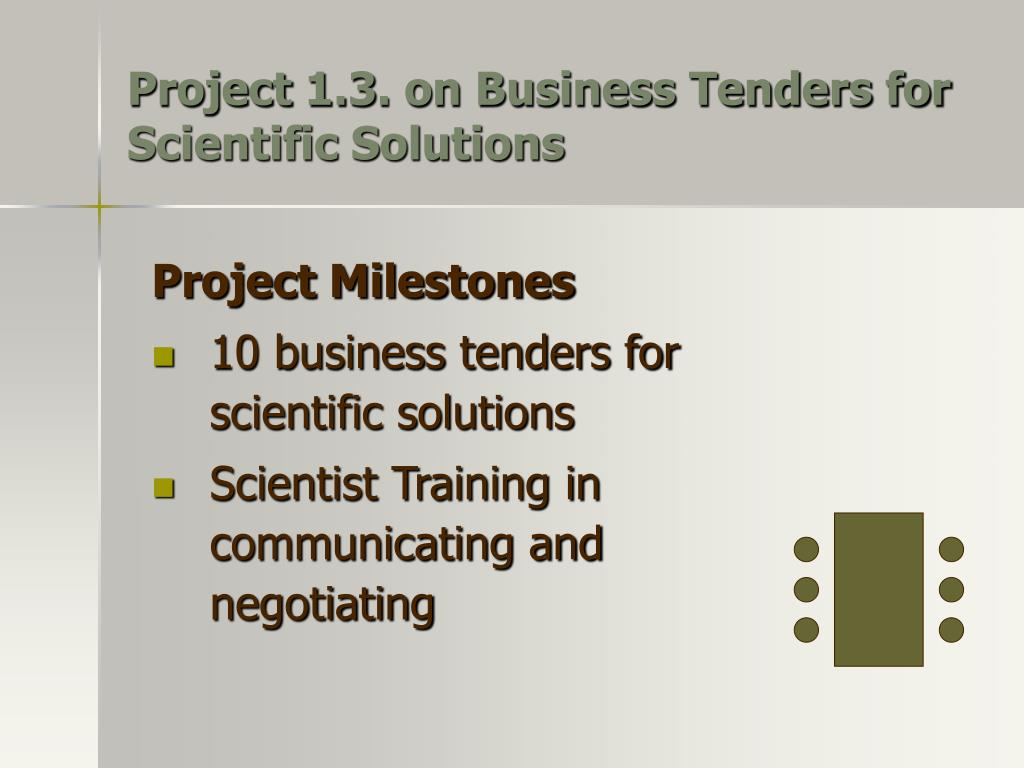 Project 1.3. on Business Tenders for Scientific Solutions