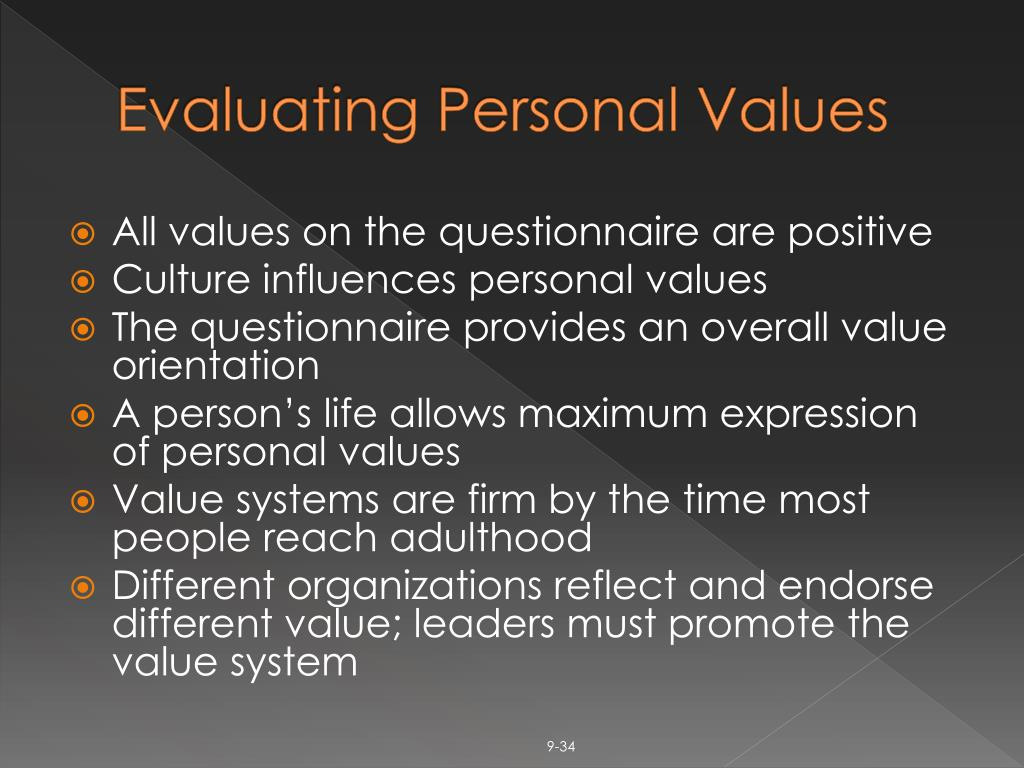 Evaluating Personal Values