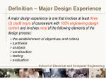 definition major design experience