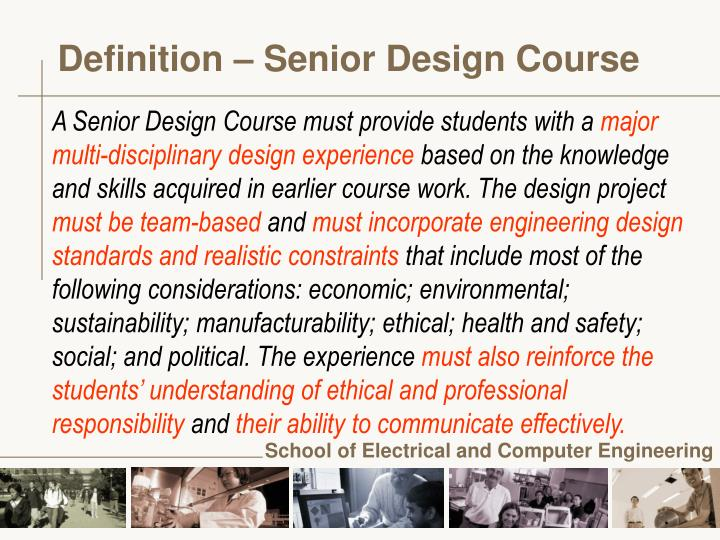 Definition senior design course