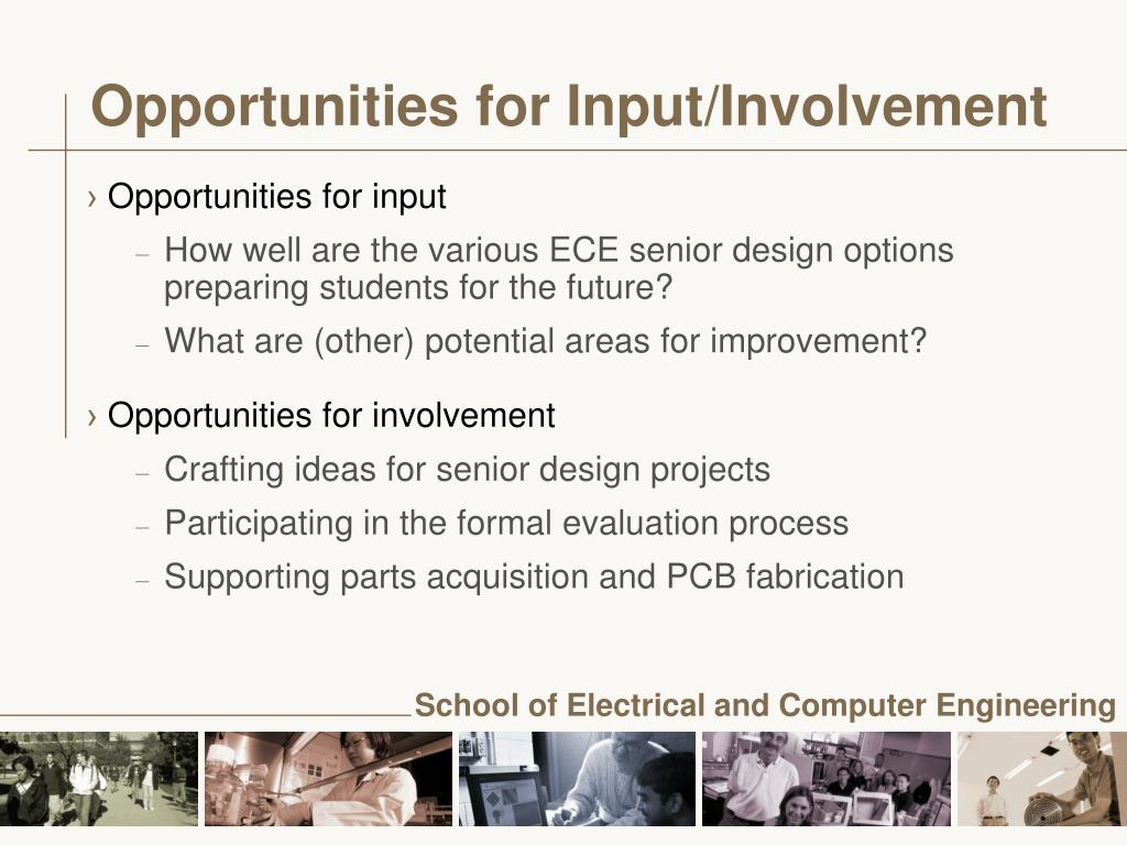 Opportunities for Input/Involvement