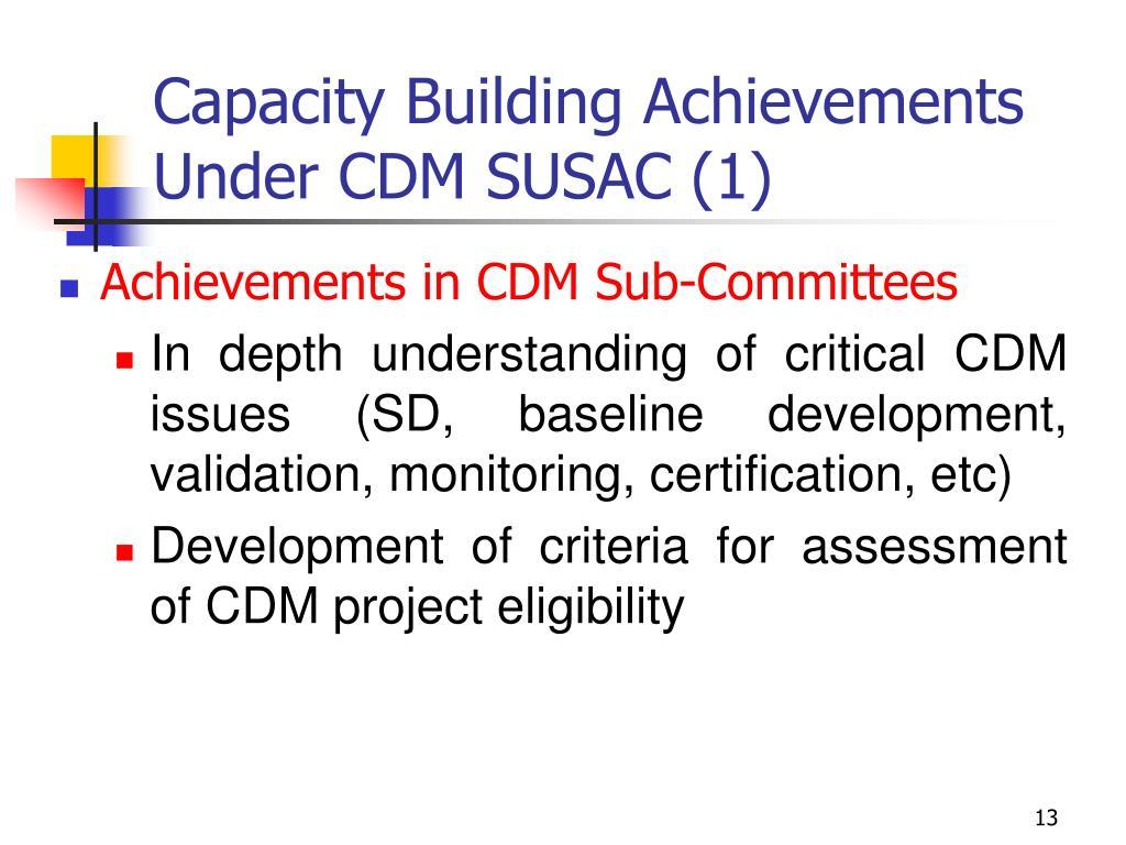 Capacity Building Achievements Under CDM SUSAC (1)