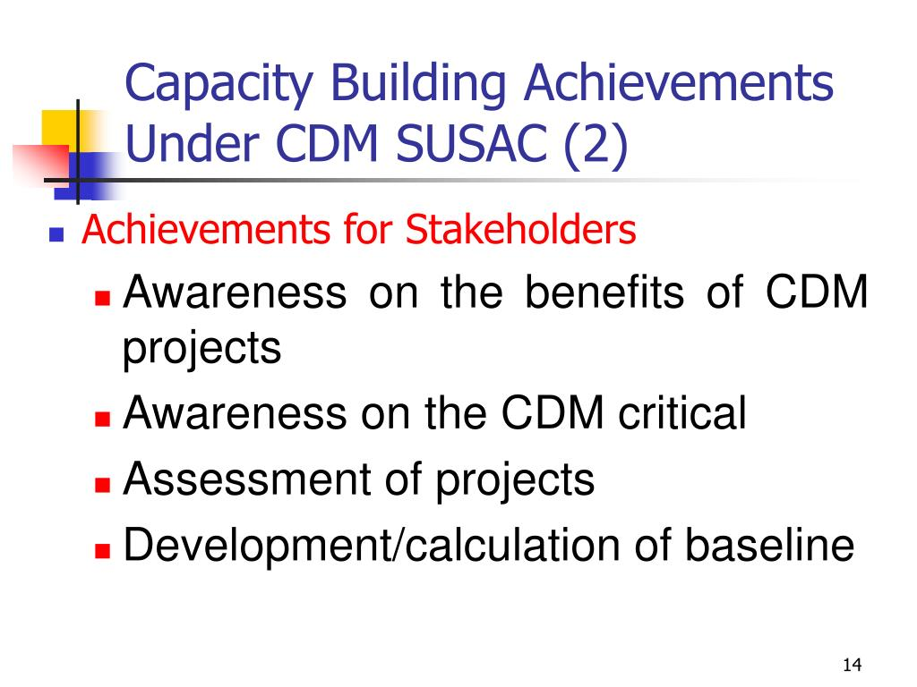 Capacity Building Achievements Under CDM SUSAC (2)