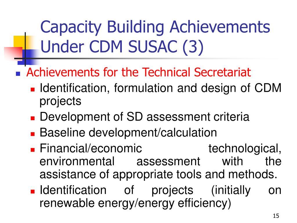 Capacity Building Achievements Under CDM SUSAC (3)