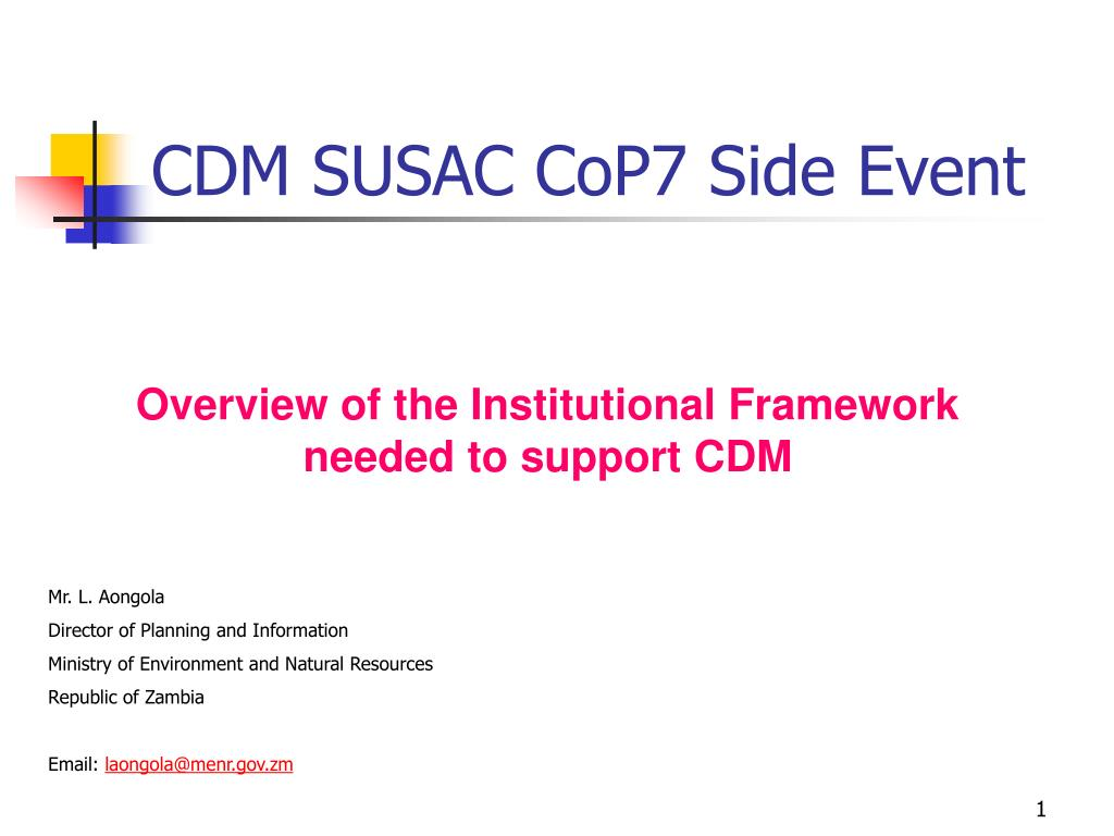 CDM SUSAC CoP7 Side Event