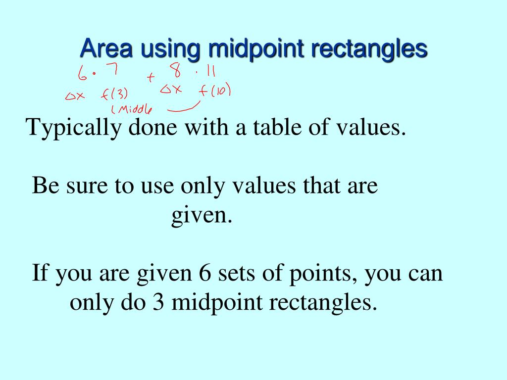 Area using midpoint rectangles