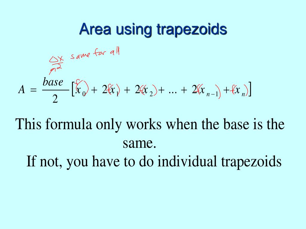 Area using trapezoids