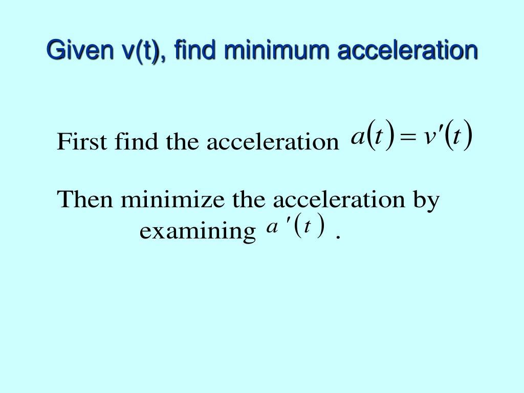 Given v(t), find minimum acceleration