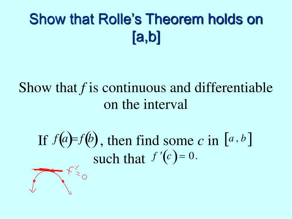 Show that Rolle's Theorem holds on [a,b]