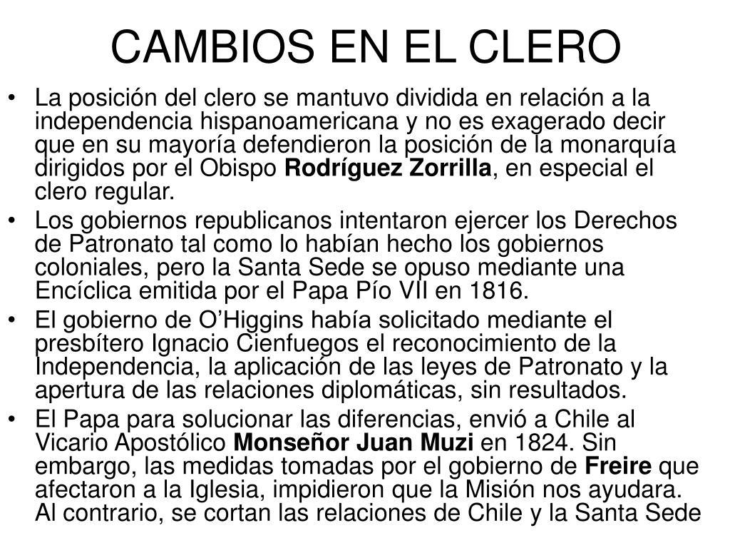 CAMBIOS EN EL CLERO