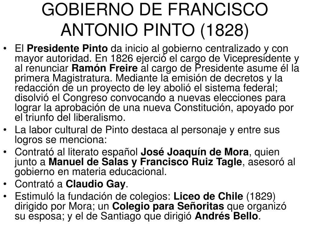 GOBIERNO DE FRANCISCO ANTONIO PINTO (1828)