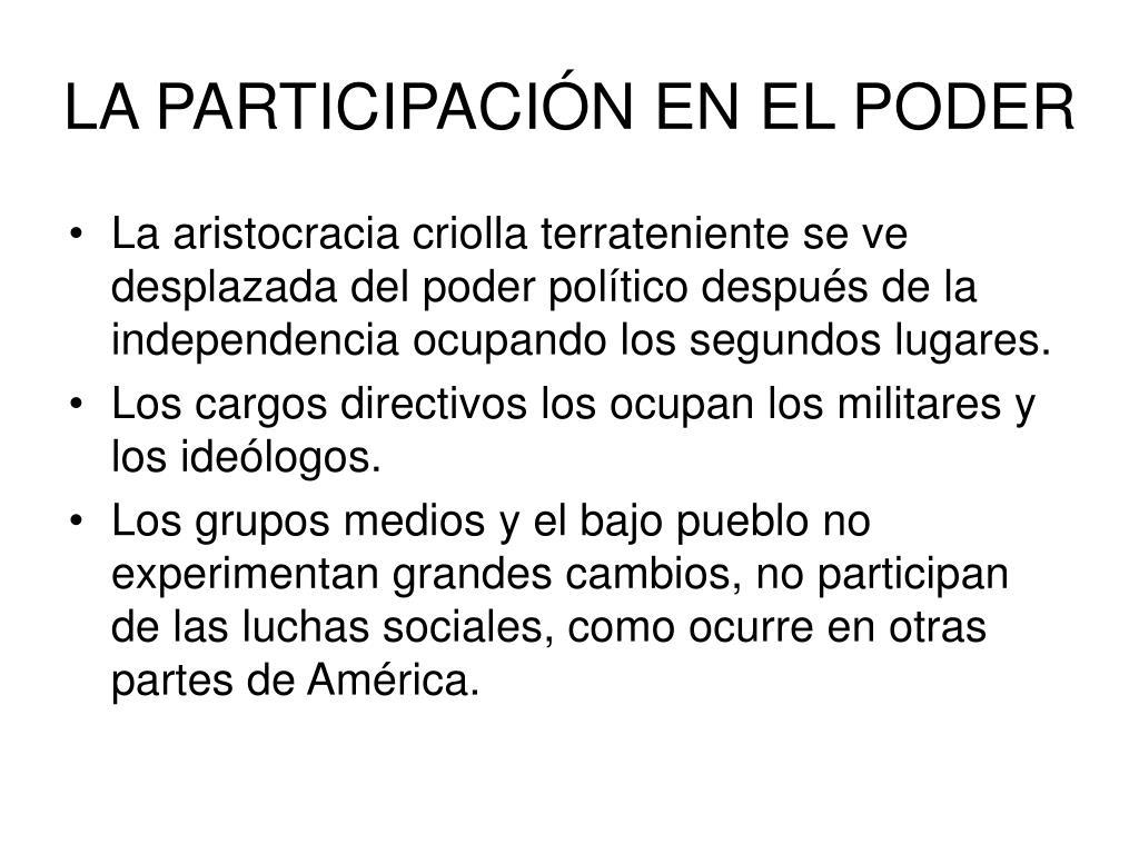 LA PARTICIPACIÓN EN EL PODER