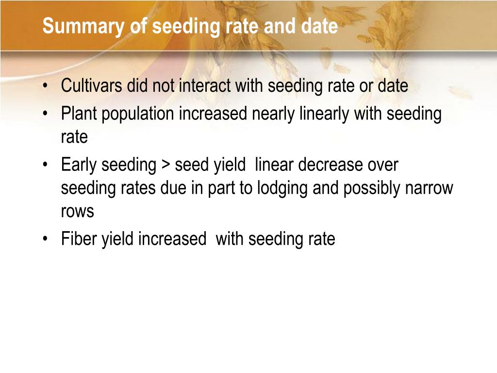 Summary of seeding rate and date
