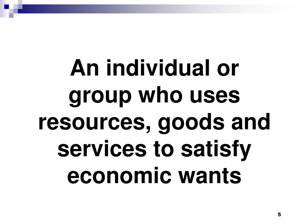 An individual or group who uses resources, goods and services to satisfy economic wants