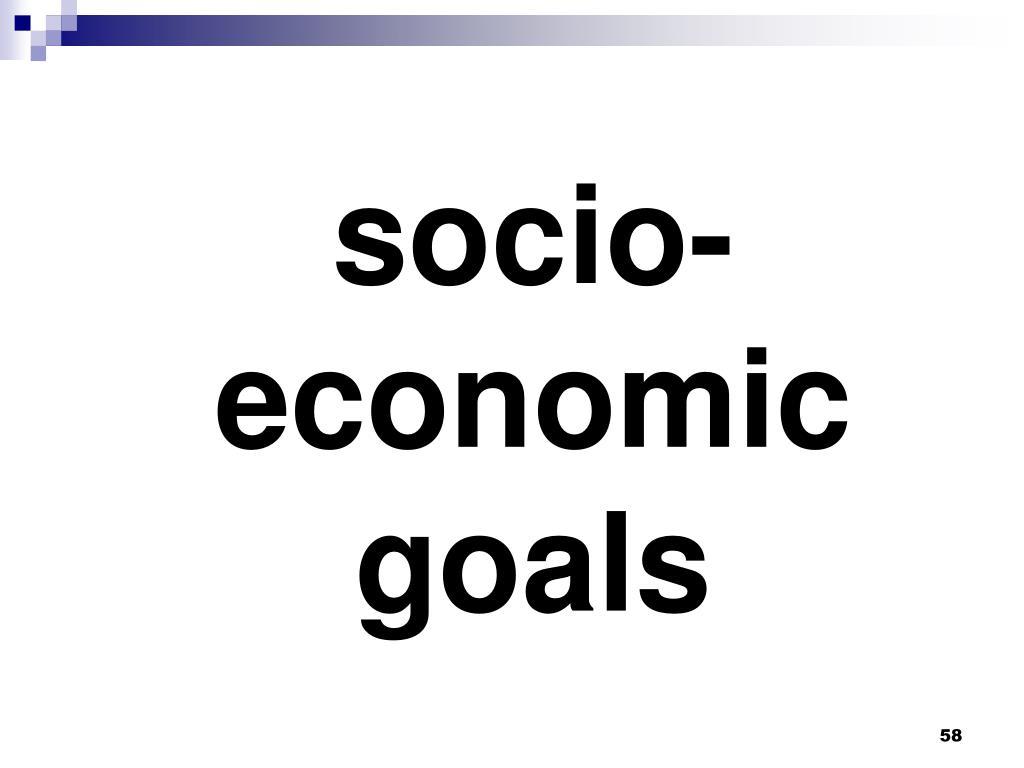 socio-economic goals