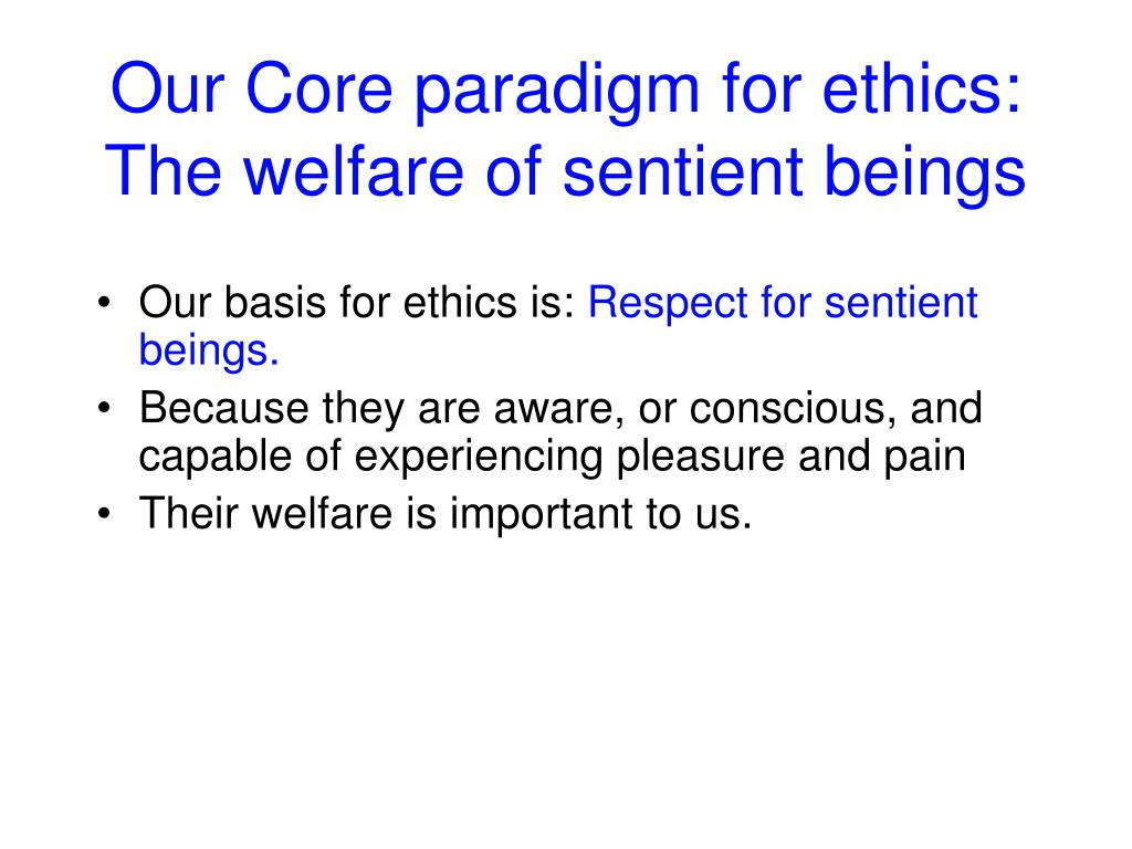 Our Core paradigm for ethics:
