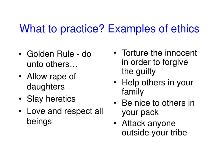What to practice examples of ethics