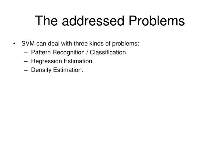 The addressed problems