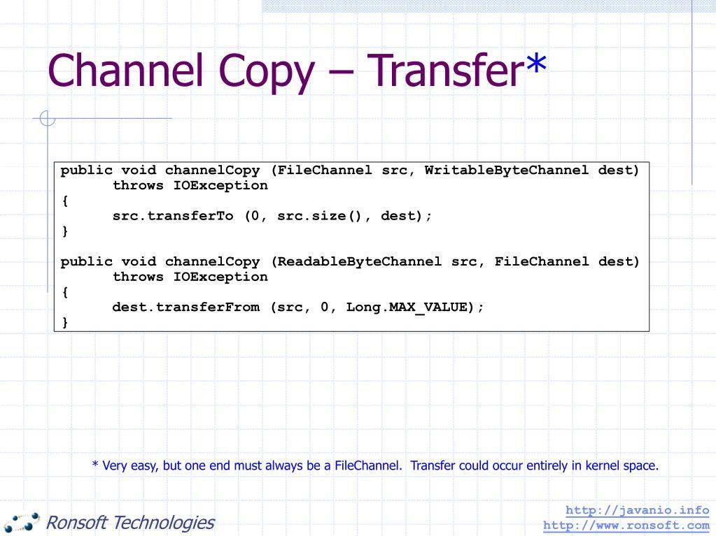 Channel Copy – Transfer