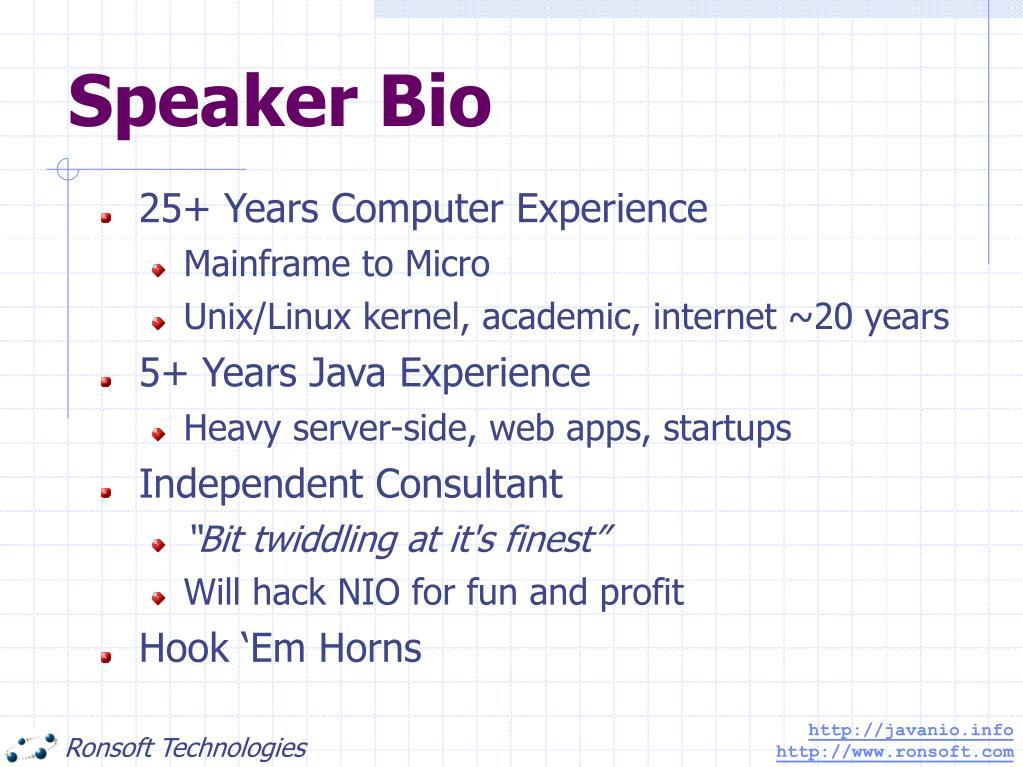 Speaker Bio