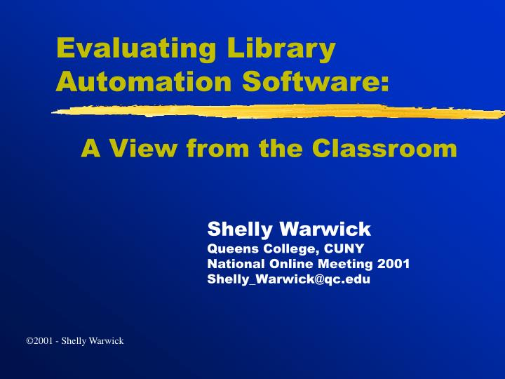 Evaluating library automation software l.jpg