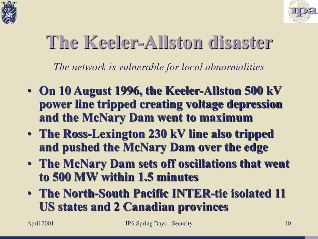 On 10 August 1996, the Keeler-Allston 500 kV power line tripped creating voltage depression and the McNary Dam went to maximum
