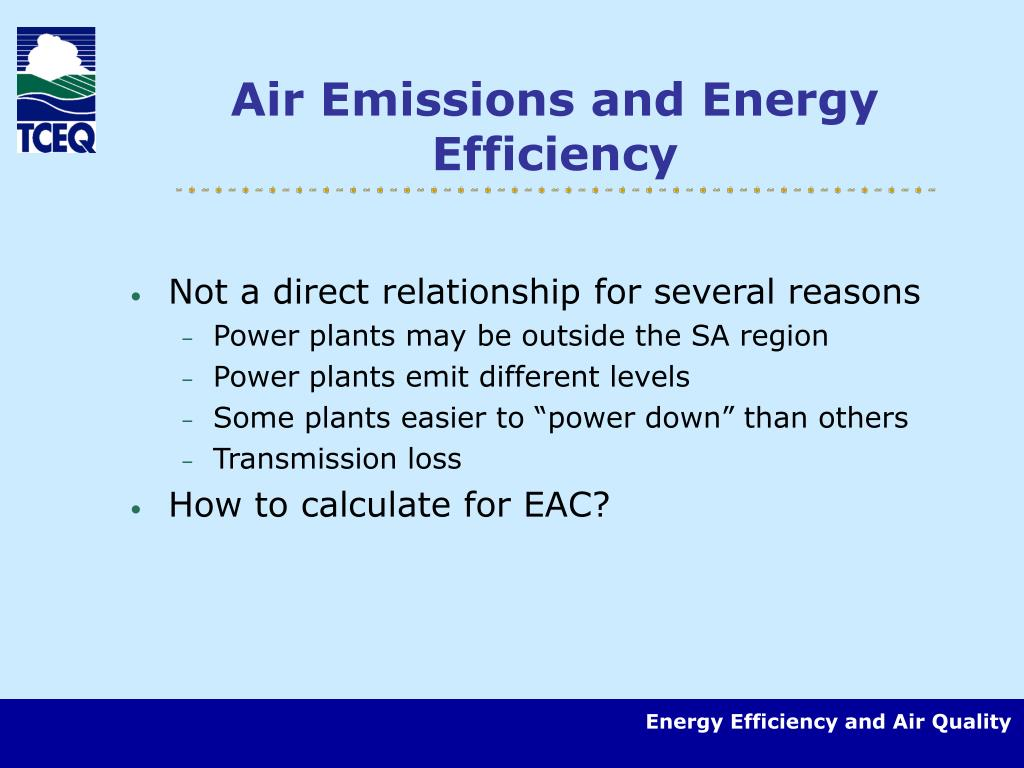 Air Emissions and Energy Efficiency