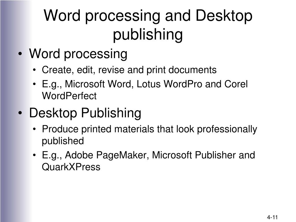 Word processing and Desktop publishing